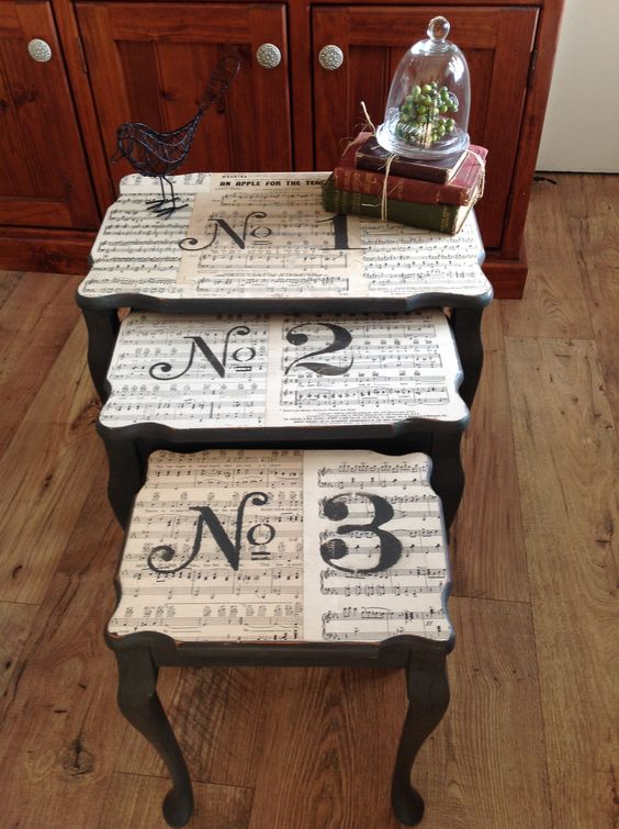 Vinatge sheet music mod podged on to a chalk emulsion paint table