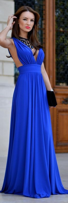 Fairytale Collection Shop Klein Blue Flirty Plunge V-neck Fit And ...