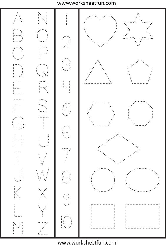 Letters Numbers Shapes Tracing Worksheet Shape Tracing