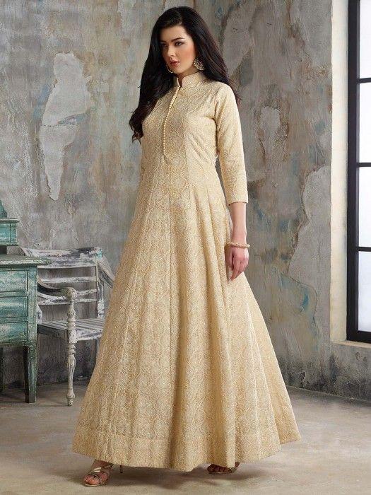 Beige Color Cotton Silk Festive Floor Length Anarkali Salwar Suit Designer Gown Style Suit For Wedding Desig Designer Salwar Suits Anarkali Gown Salwar Suits