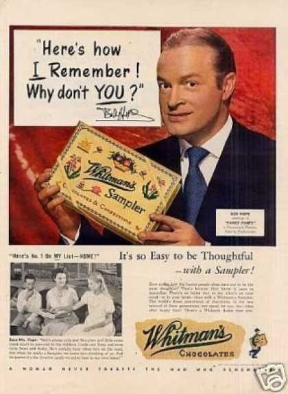 This was a tradition at our house at Christmas.  It still is today.  Whitman's Chocolate Candy Ad Bob Hope (1950):