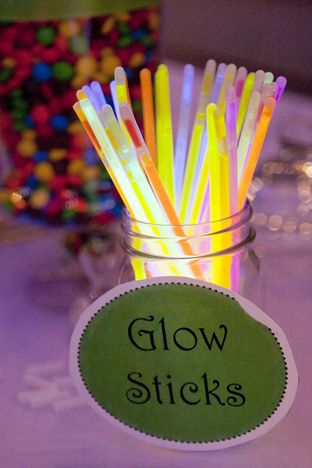 Glow sticks on the candy bar for the kids! Nelsen Howard Melissa McFadden Photography