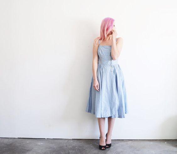 1950 swiss dot day dress . pale blue summer sailor frock .medium .sale