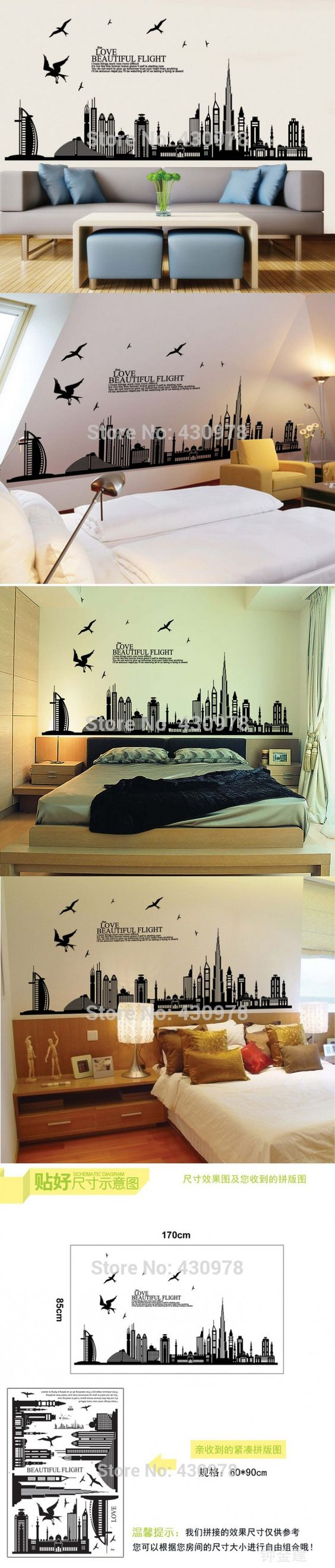 New York building architectural wall sticker home decoration creative black wallpaper home decorations JM7280 size 60*90 $7.98