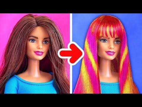 28 Stunning Barbie Hacks And Crafts Coiffure Barbie Artisanat De Poupee Barbie Diy
