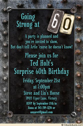 Motorcycle theme 60th birthday invite ideas | Vintage Garage ...