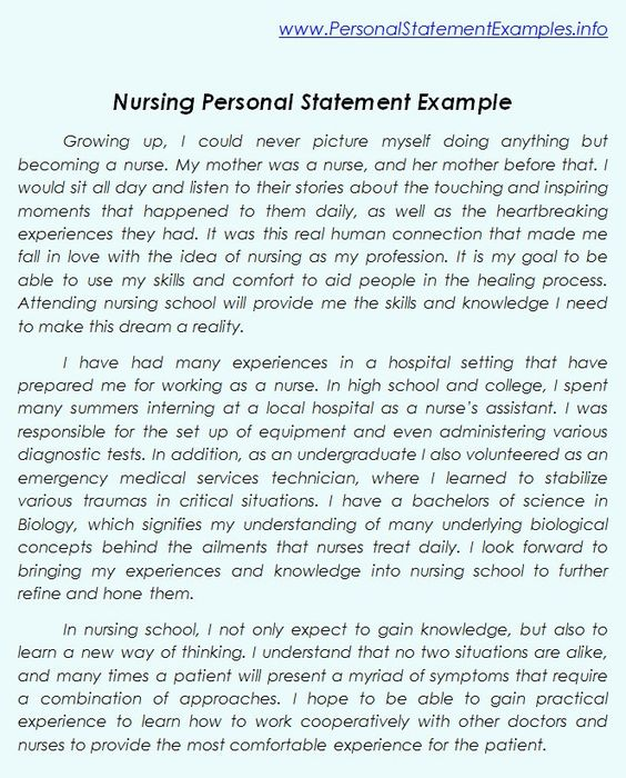 Professional Nursing Personal Statement Examples http://www ...