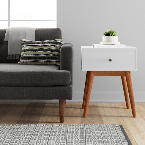 Amherst Mid Century Modern Two Tone Side Table White Brown