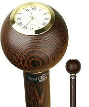 Wenge Wood Clock Handle Walking Stick With Wenge Shaft And Brass Collar