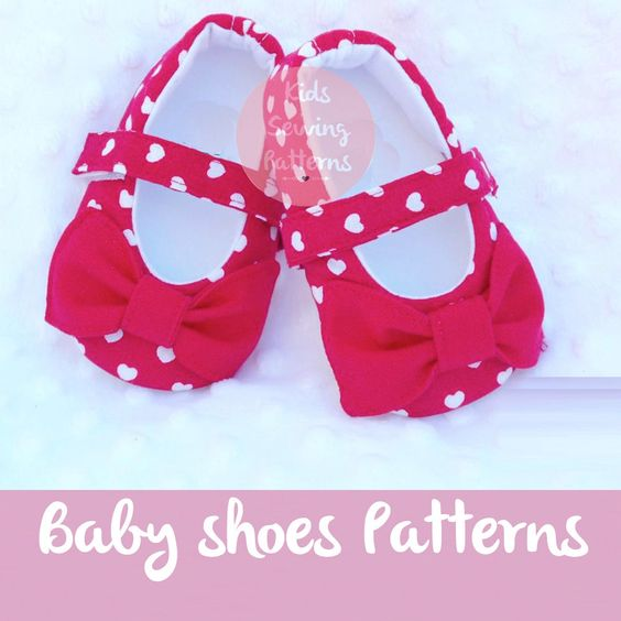 Baby sewing pattern PDF /  Bow baby shoes  hearts /  baby clothes / newborn baby girl shoes accesory / Bow pdf pattern / Children  0m-12m by KidsSewingPatterns on Etsy