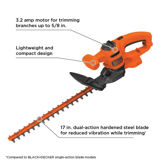 Black Decker 3 2 Amps 17 In Corded Electric Hedge Trimmer At Lowes