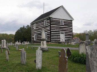 The Old Log Church, Schellsburg Pennsylvania, built in 1806.