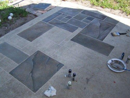 Concrete Patio Faux Slate W.i.p.   WetCanvas | Home | Pinterest | Painted  Cement Patio, Paint Cement And Cement Patio