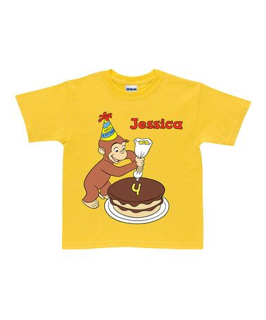 Look at this #zulilyfind! Yellow Curious George Birthday Personalized Tee - Toddler & Kids by Curious George #zulilyfinds