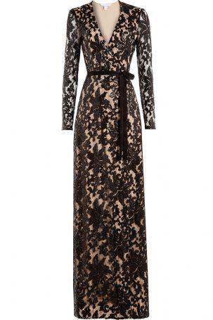 Diane von Furstenberg Diane von Furstenberg Bodenlanges Wrap-Dress mit Spitze…