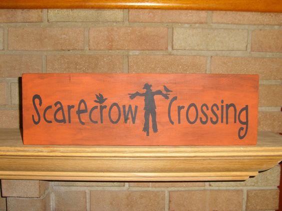 Fall Sign Scarecrow Crossing Fall Decor Halloween Decor