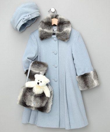 Trilogi Powder Blue Faux Fur Wool-Blend Swing Coat Set - Toddler