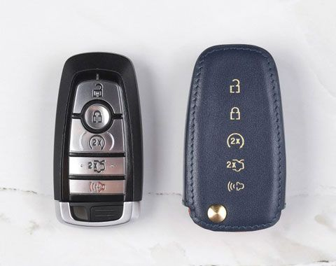 Custom Made To Fit Coaster Genuine Leather Key Fob Cover For Ford F150 Custom Made To Fit The Year Make Model Of Y Leather Key Ford F150 Leather Key Fobs