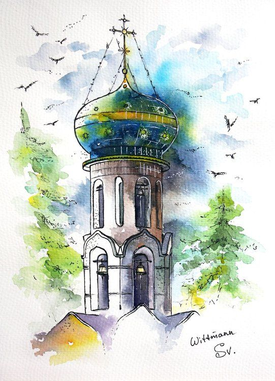 Church Building With Dome Urban Architecture Sketch Original