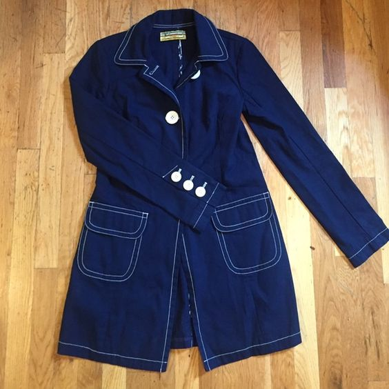 Navy and white trench Libertine for Target sz M Super super cute navy trench by Libertine for Target. White stitching and big white buttons. Unlined. Size medium but fits a bit more like a small. Tons of look on a little price! Libertine Jackets & Coats Trench Coats