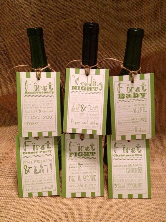 Wedding Gift Basket Etsy : ... Basket Gift Tags - Striped Tags Bridal gifts, Wine basket gift and