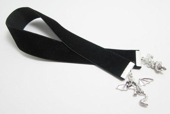 Fantasy Aeonith Dragon Black Velvet Ribbon by WhispySnowAngel, $10.00