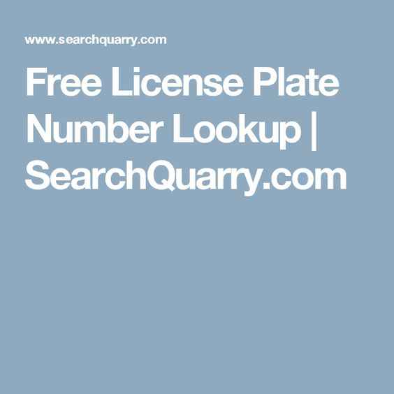Free License Plate Number Lookup | SearchQuarry.com
