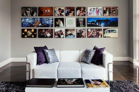 Farverig fotovæg