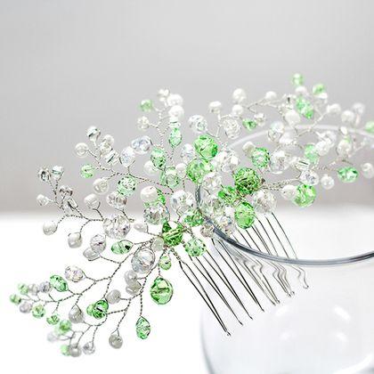 """Свадебный гребень для прически из стеклянных бусин """"Яблочно-зеленый"""" -:"""