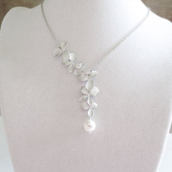 Statement Necklace, Lariat, Pendant, Wedding Jewelry, Bridesmaid, Bridal, Personalized, Anniversary, Orchid Flower, White Pearl, Gift on Etsy, $26.00