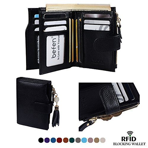 Women S Black Luxury Full Grain Genuine Leather Black Color Bifold Trifold Wallet Multi Card Organizer Holder Leather Wallet Mens Unique Wallets Trifold Wallet