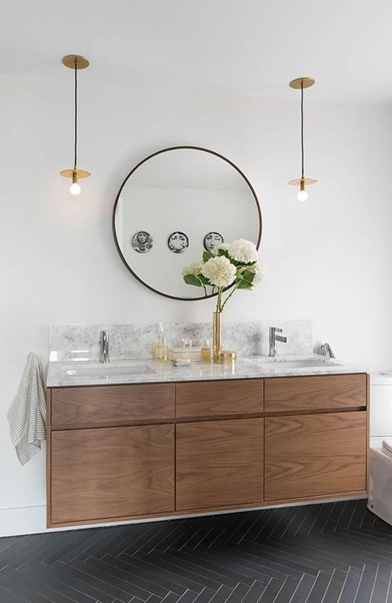 Round mirrors vanities and cabinets on pinterest - Round mirror over bathroom vanity ...