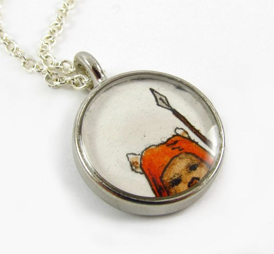 The Ewok ... too cute to ignore, too short to totally fit in the image. Original painting pendant by Sarah-Lambert Cook