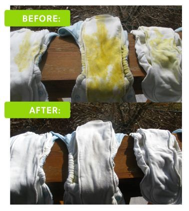 Tips on removing stains from your diapers using the power of the sun!:
