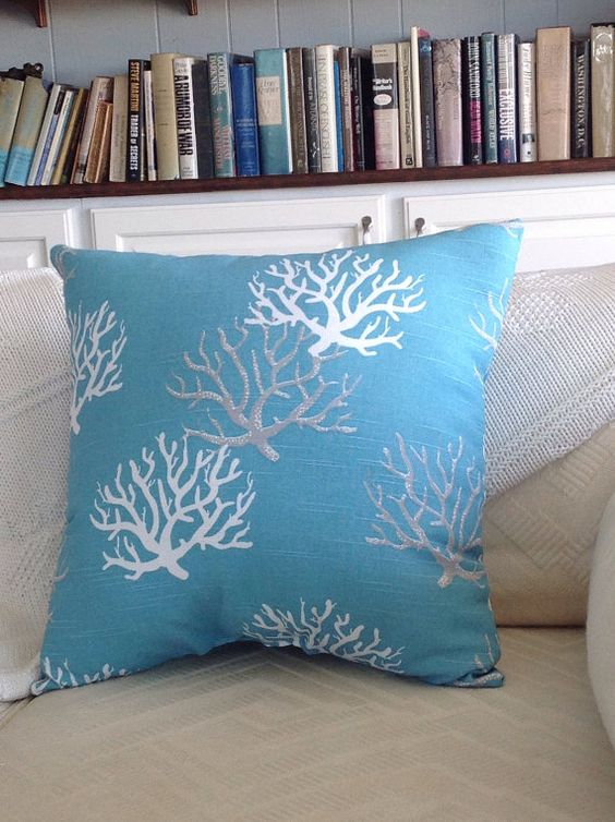 Aqua Blue Coral Throw Pillow Sea Fan Pillow by ByTheSeashoreDecor Beach House in the Desert ...