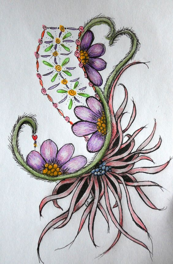 Like the big flower. 2013 Dusty: Heart, flowers and squid. Zentangle art form.