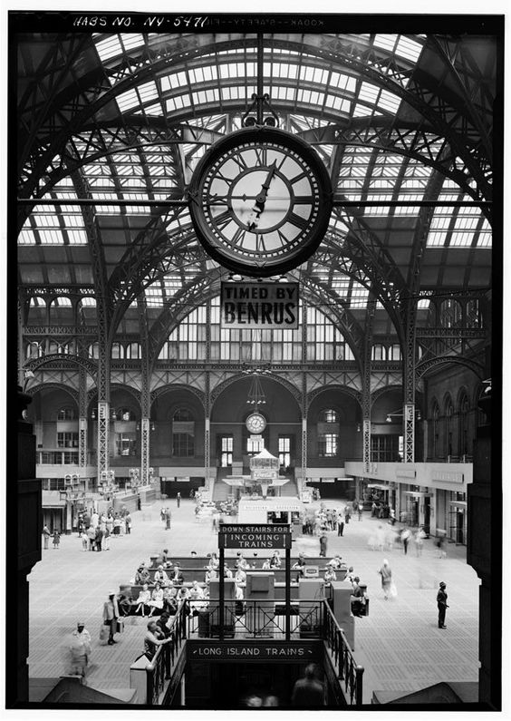 Penn Station before it was demolished to make room for Madison Square Garden in 1963 • A view of the Great Gate room and a giant suspended clock: