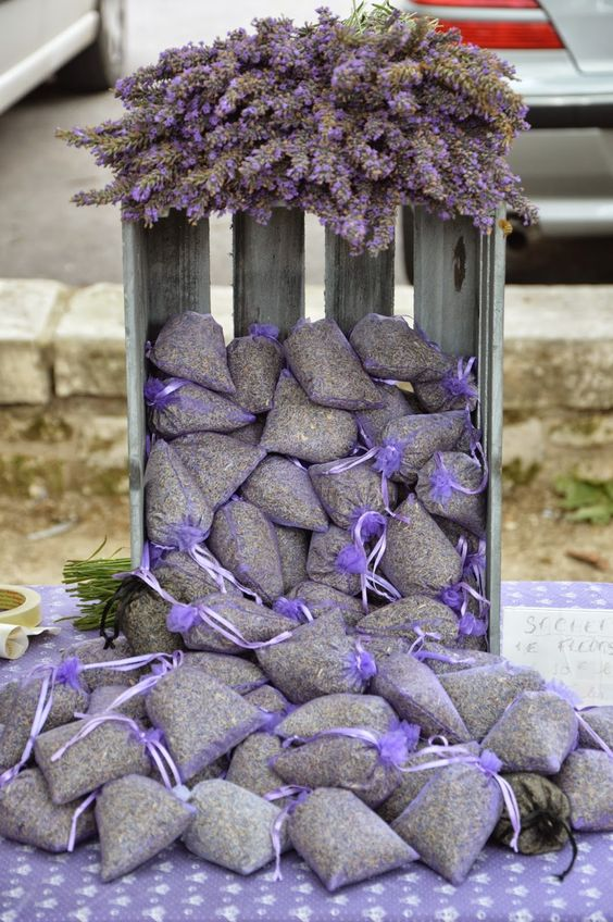 Lavender sachets in crate, perfect display!