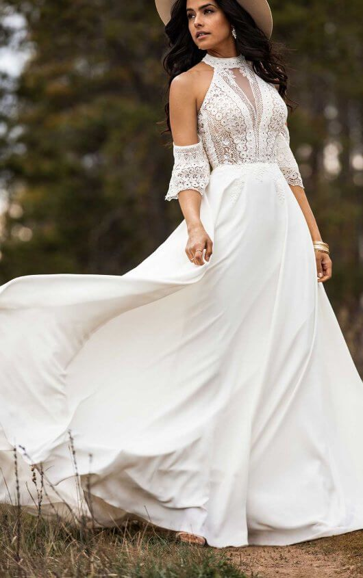 Simple Bohemian Wedding Dress With Removable Arm Cuffs All Who Wander In 2020 Boho Wedding Dress Bohemian Wedding Dress Wedding Dresses