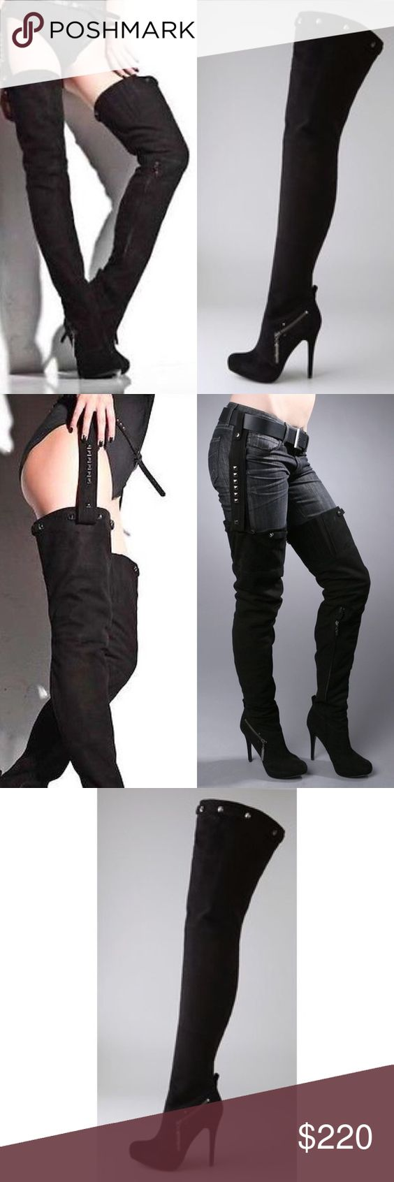 Report kane thigh high boots w removable harness 9 | High boots ...