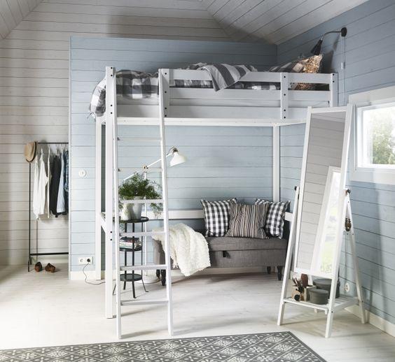 Bedden lijstjes and quartos on pinterest - Loft bed met opbergruimte ...