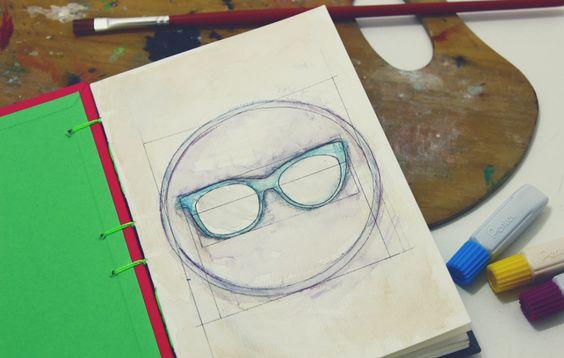 Logo do blog   alineando.com.br #logo #planejamento #estudo #aquarela #óculos #desenho