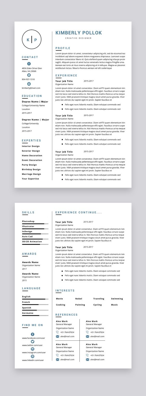 Resume Template Professional Resume Template Instant Etsy Resume Template Professional Resume Template Resume Template Word