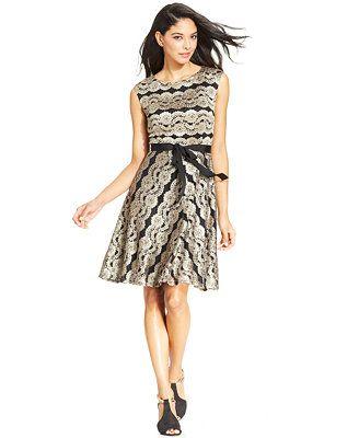 SL Fashions Metallic-Lace-Stripe Belted Dress