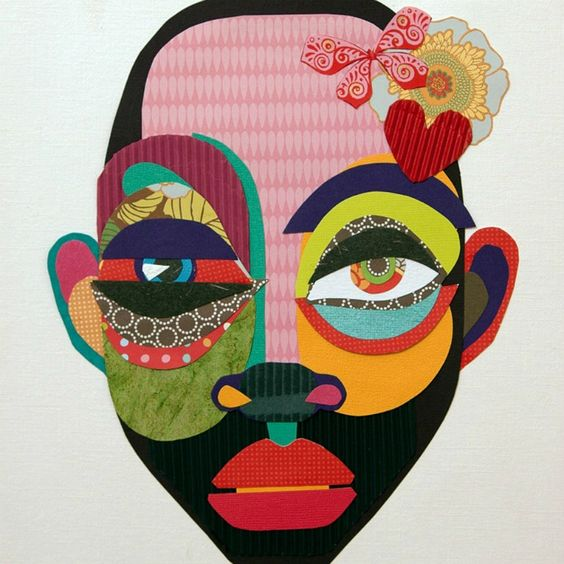 Paper collage self portrait.: