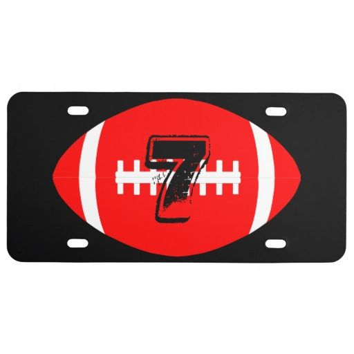Custom Red and Black Football License Plate