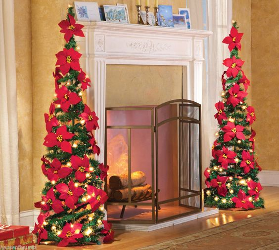 Christmas Tree Poinsettia Lights Led Collapsible Ornament