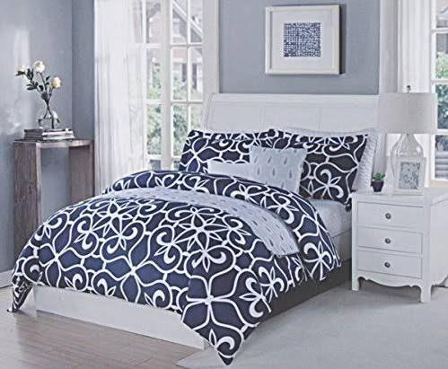 Navy And White Geometric Comforter Tahari Bedding Studio Bed Home Goods Furniture