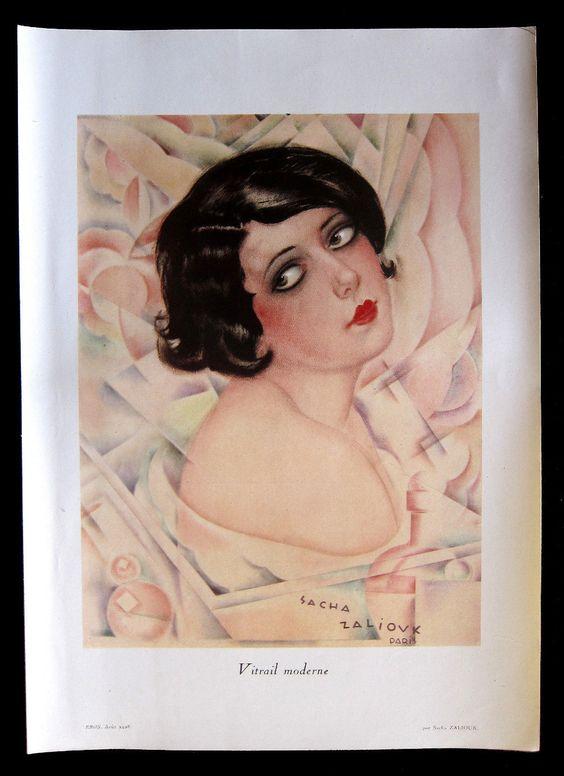 Sacha Zaliouk (1887 – 1971). Vitrail moderne. EROS, Août 1928. [Pinned 7-v-2016]