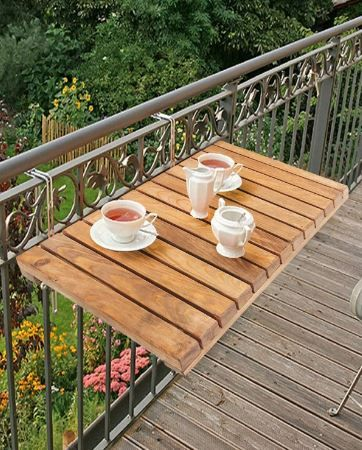 Balcony Table Wooden Folding Table In 2020 Small Balcony Design Balcony Decor Small Balcony Furniture